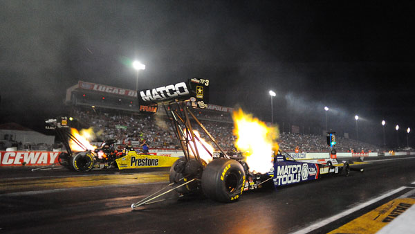 Antron Brown (near lane) is #5 with a 3.807