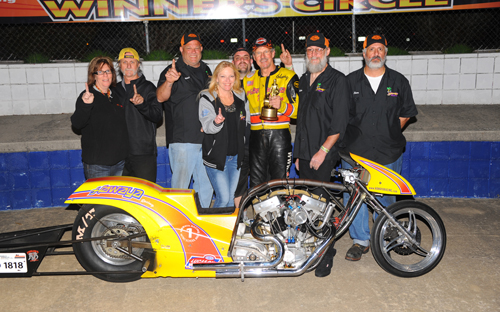 Top Harley Dragster winner Pretzel