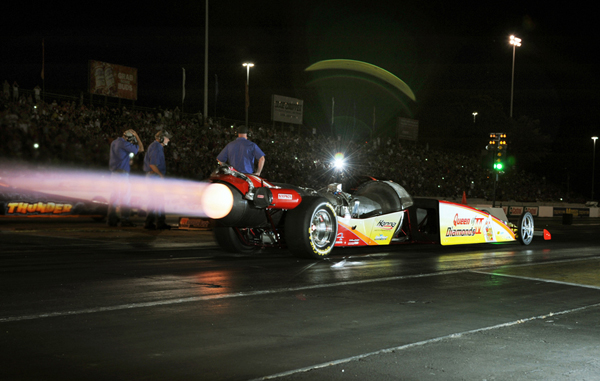 Later at the Geezers, Jill Canuso thrilled the crowd with the Jet car