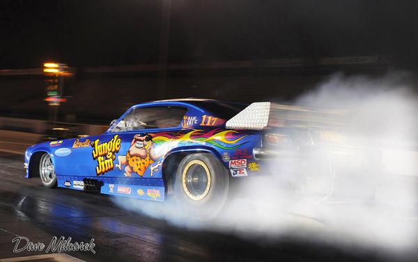 "The first of many images from the Geezers at the Grove in 2013. John ""Bodie"" Smith took the popular Jungle Jim Vega Funny car to a victory"