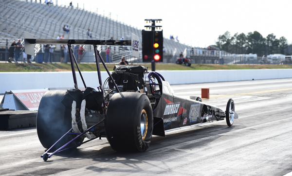 Scott Hall, son of famed NED racer Dale Hall, is #1 in Top Dragster with a 6.357