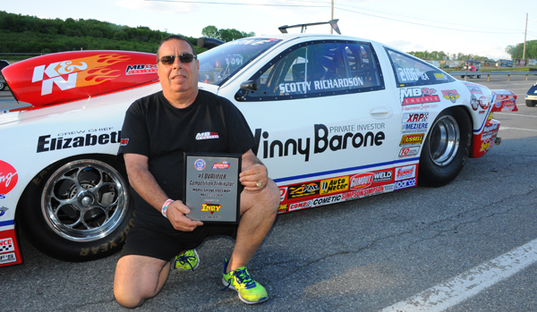The D/EA of Vinny Barone driven by long time NHRA racer Scotty Richardson was low qualifier in Comp