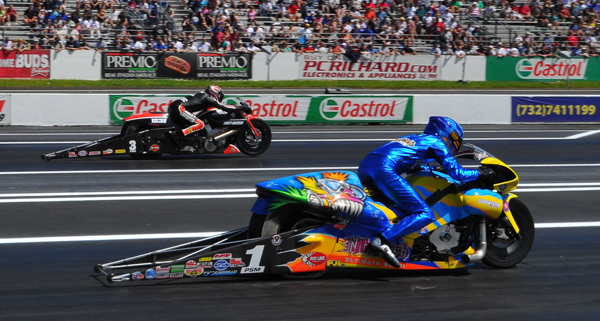 Eddie Krawiec (far  lane) defeats 2013 Pro Bike champ in semis