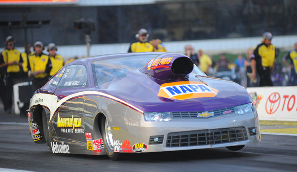 Local Pro Stock racer Vincent Nobile, had better days at the races, blowing the tires off his Chevy in the first round