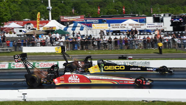 The finals of Top Fuel had first time winner Richie Crampton  (far lane) over Doug Kalitta