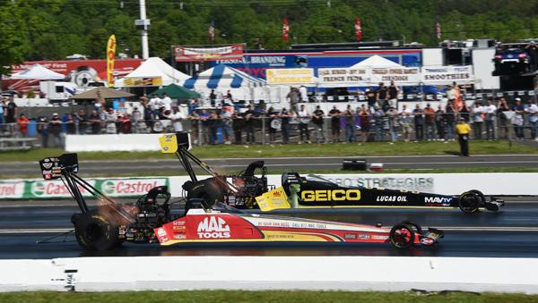The finals of Top Fuel had first time winner Richie Crampton  (far lane) over Doug Kalitta