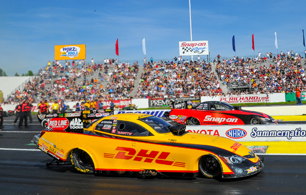 The finals of Funny Car featured what was fitting since Toyota sponsored the race, a pair of Camrys with Cruz Pedregon (far lane) defeating the Kallitta team car of Del Worsham in a close final
