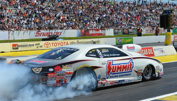 Greg Anderson got the better light in the finals of Pro Stock but the car never hooked up