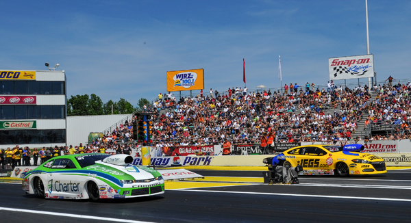 Pro Stock semi finals had Jeggie's Mopar (far lane) taking out Dave Connally's Chevy