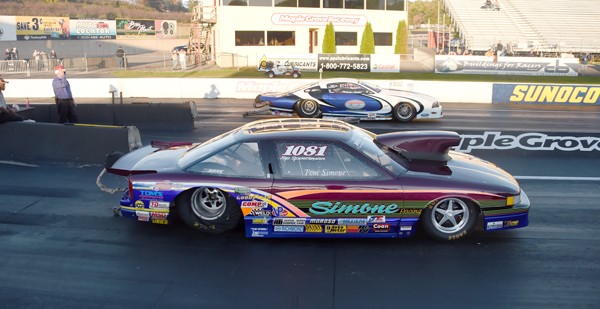 The finals of MXI/Magnaflux Top Sportsman presented by Select Performance had Crazy Ed Foley over the Olds of Tom Simone as Ed's Mustang ran a 7.078 on a 7.07 dial