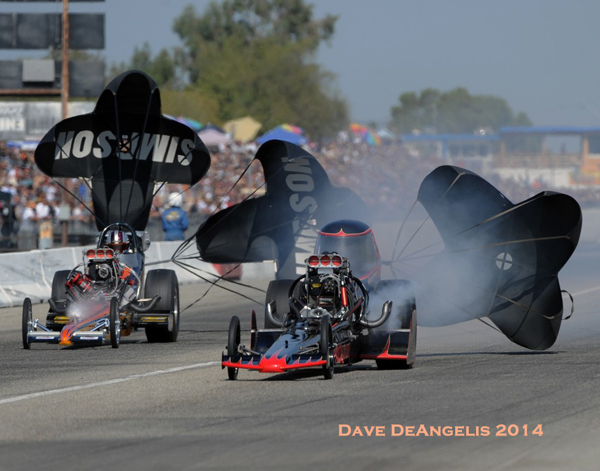 Former Bakersfield winner Adam Sorokin had a forgettable weekend as his swoopy dragster broke in Round 1