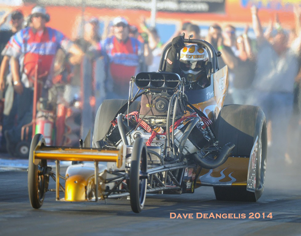 Tony Bartone, former D1 Champ and long time fuel racer, ran the table all year in Top Fuel as his NY based dragster never saw a losing round in 2014