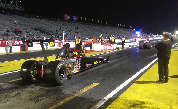 Steve drove Jason Kenny's dragster to a Super Pro win at the Finals in Pomona