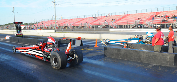 Frederic Angers (far lane) beat his brother Frank in the finals of Top Dragster