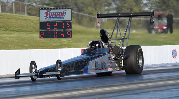 Richard Bourke sits in the #1 spot in Alcohol Dragster going into final eliminations