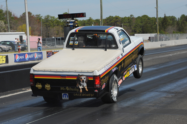 Eric Merryfield had the wheel stand of the year during Stock qualifying Saturday morning. The truck suffered little damage and made the first round call