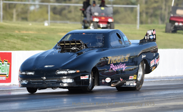 Fred Tigges in another racer that has stepped up  as of late putting his ancient Camaro in the Funny Car field with a 6.608 good enough for #2