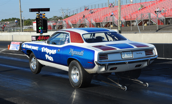 Tommy Baker made his NED debut taking his Hemi powered Cuda to R3 in Super Stock