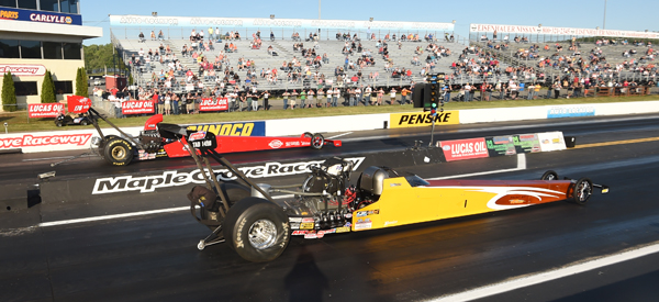 Brando Grecco (near lane) had the second blown dragster in the show but lost to eventual finalist Jeff Veale in R1