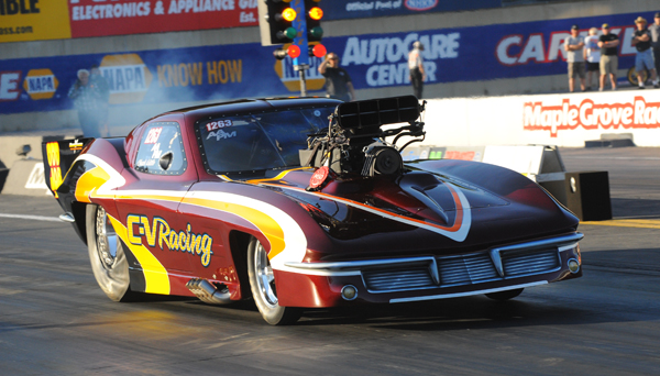 Charlie Little's blown Pro Mod was Low Qualifier for the second NED event in a row. Little posted a 6.00 to grab the pole going into Sunday's eliminations