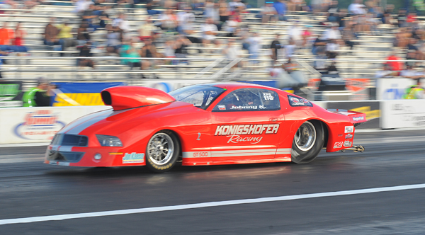 John Konigshofer's Mustang is 7th in Pro Stock going into tonights final eliminations