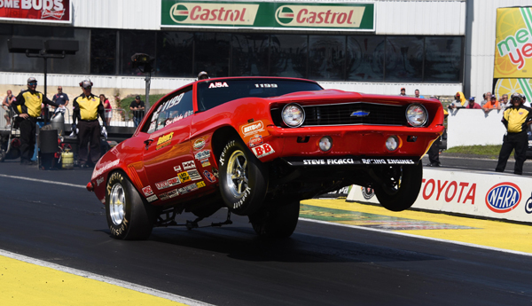 Calabro get the wheels up on his A/SA Chevy in the finals