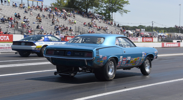 The finals of Super Stock had Millers Cuda (near lane) over the Camaro of Lincoln Morehead