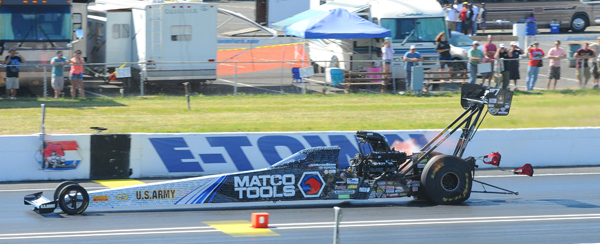 With his competition shut off after smoking the tires, Antron Brown took his career 50th Pro win at E Town