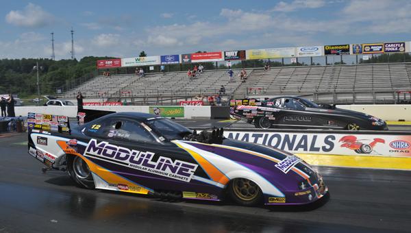 Pomponio (far lane) over Matt Gill's Mustang