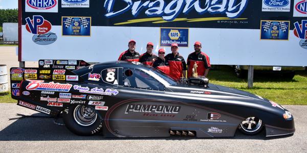 Dan Pomponio's crew celebrates his New England Dragway win